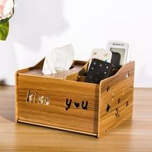 Wooden Remote Control Holder TV Remote Caddy Office Supplies Storage Box Desk Tissue Organizer For Pencil Mobile Phone Napkin