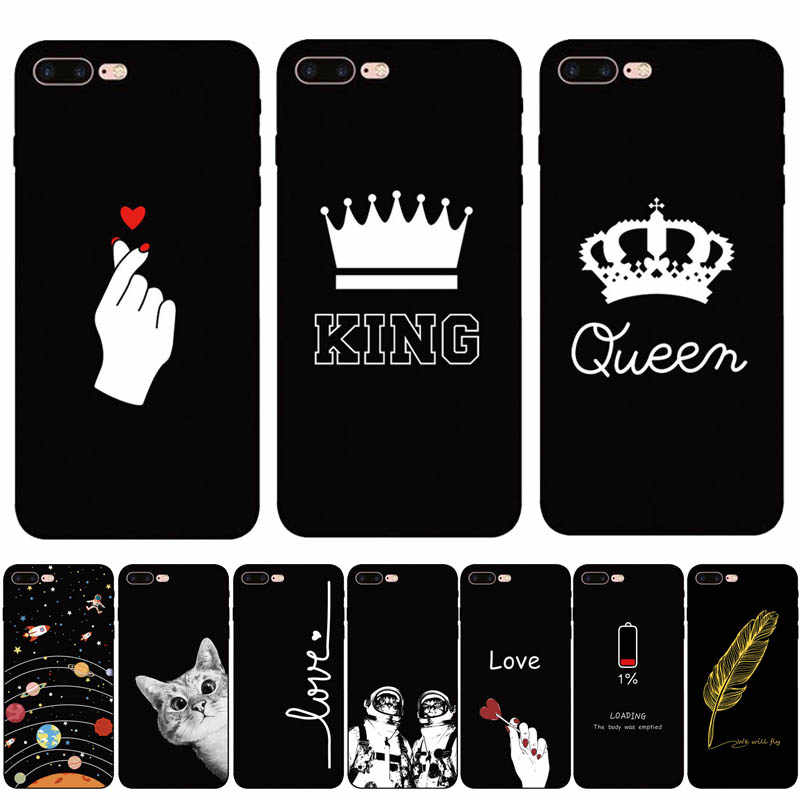 Abstract Queen king Black Soft TPU Matte Case For iPhone 8 7 Plus XS Max XR Case Fundas Coque Cover For iPhone 6 6s X 5S SE Case