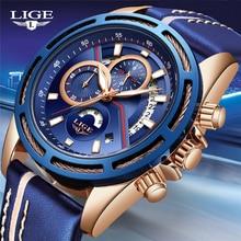 جديد LIGE ساعات رجالي العلامة التجارية الفاخرة الأزرق العسكرية الرياضة ساعة الرجال الجلود ساعة مضادة للماء كوارتز ساعة Wishwatch Relogio Masculino