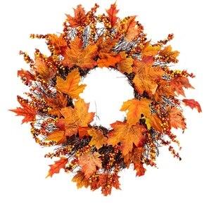 Кленовый лист Тыква ягоды венок Хэллоуин и Рождество двери домашний декор