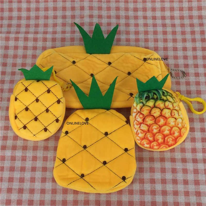 3 rozmiary-owocowa ananasowa pluszowa portmonetka, 6cm-22cm etui na portfel etui na monety; Torebka damska portmonetka