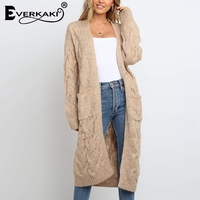 Everkaki Boho Knitted Long Cardigans Women Sweater Pockets Solid Warm Bohemian Coat Cardigans Sweater Female 2019 Autumn Winter
