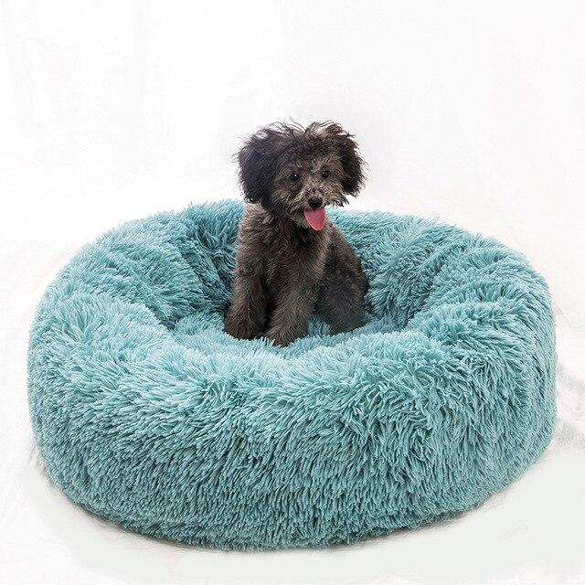سرير الكلب الفاخر الناعم ذو الشكل المستدير حقيبة نوم بيت الكلب القط الجرو أريكة السرير بيت الحيوانات الأليفة سرير دافئ للشتاء وسادة فائقة الراحة
