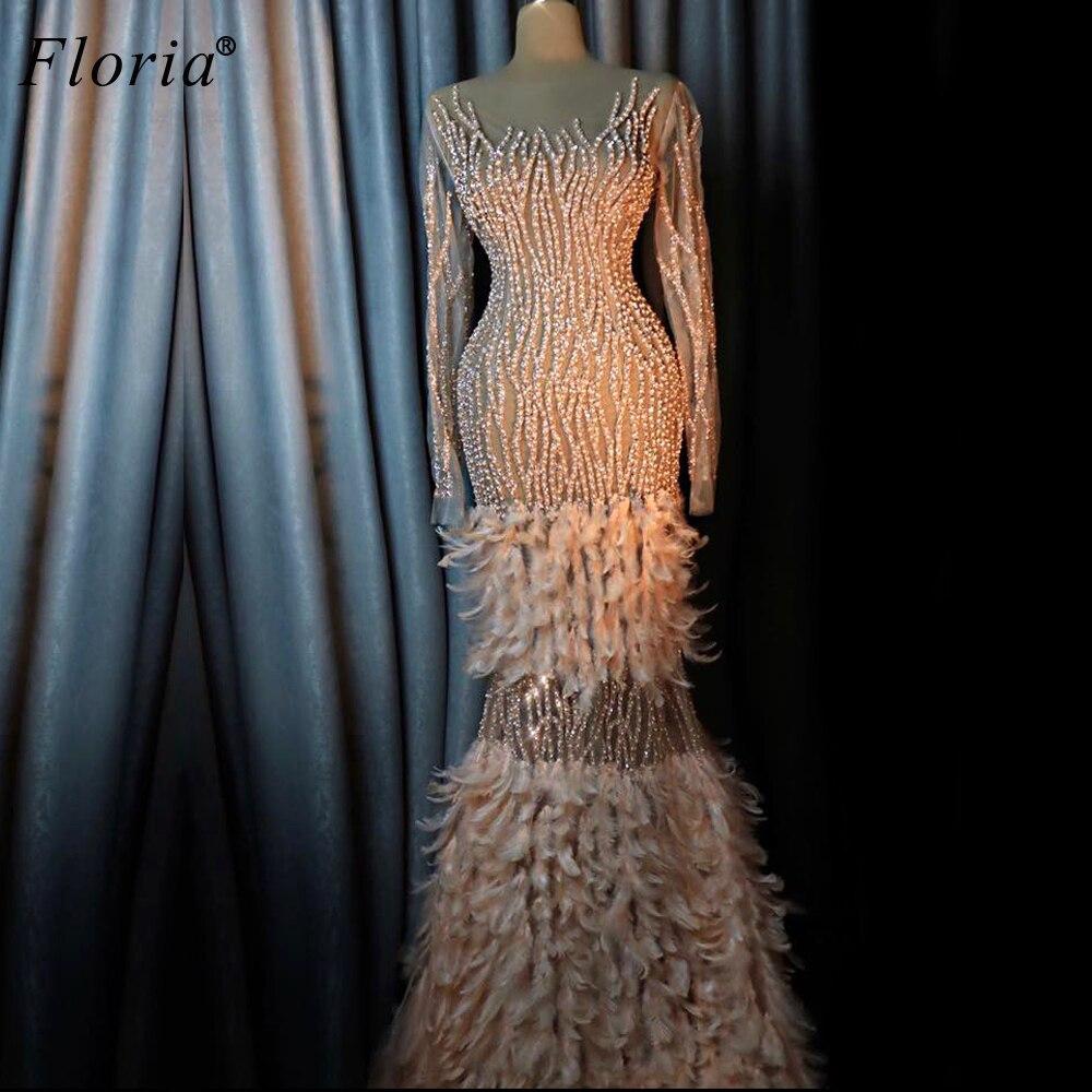 2020 ciężkie do robótek ręcznych formalna suknia wieczorowa długie kryształy szata De Soiree przezroczyste suknie na bal maturalny syrenka pióra turecki Vestidos