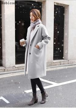 Blends Women Woolen Slim Button Womens Coats Korean Style Chic All-match Solid Females Outwear Casual Oversize  Coat