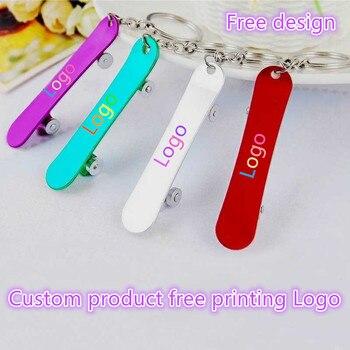 100pcs custom logo Skatebo Metal aluminum Bottle Opener Key Ring Chain Beer Bar Tool Claw Gift laser LOGO