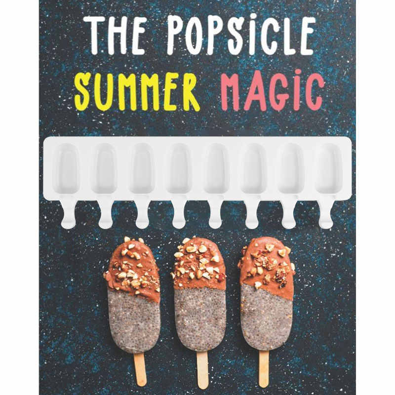 SILIKOLOVE 8 Hohlraum Eis Mold Popsicle Silikon Formen DIY Hausgemachte Obst Saft Dessert Eis Pop Am Stiel Tablett Form