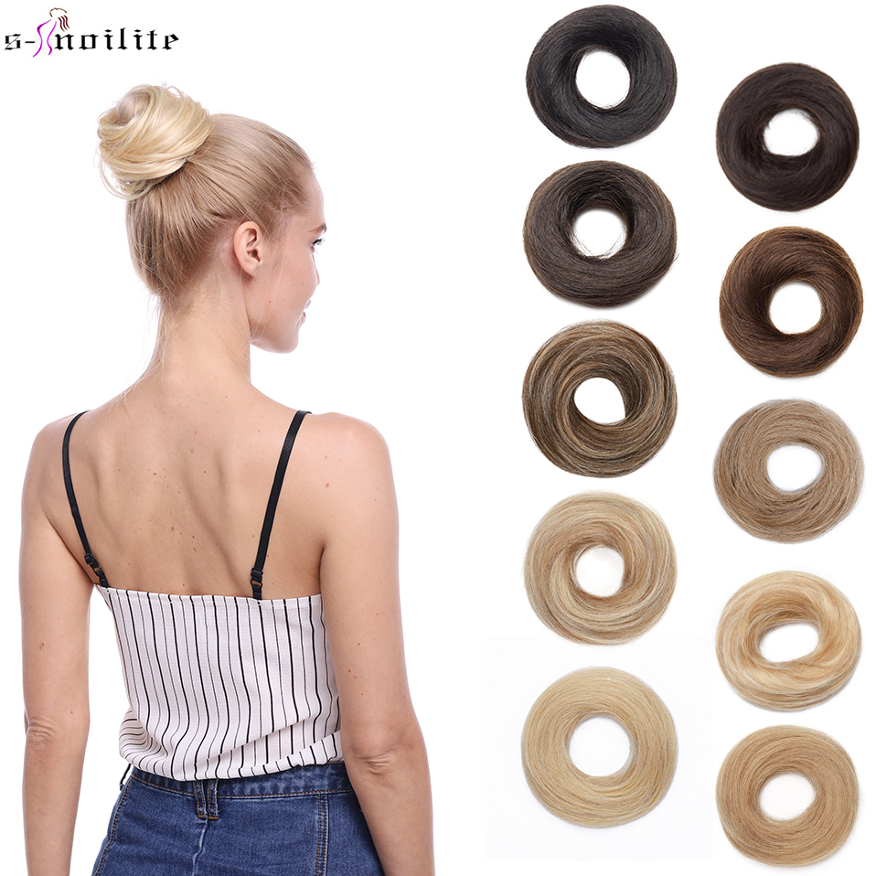 Hairpiece Extension Human-Hair Hair-Bun S-Noilite Ponytail Chignon Rubber-Band Donut