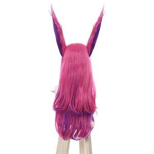 "Image 3 - L דוא""ל פאה LoL Xayah קוספליי פאות כוכב שומרים קוספליי ארוך ורוד סגול פאה עם אוזני ליל כל הקדושים חום עמיד סינטטי שיער"