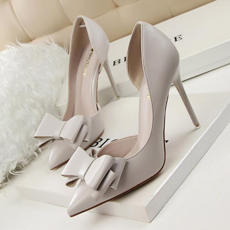 High-Heeled Shoes Bridal-Pumps Elegant Women's OL Bowknot Cuboid Shallow-Mouthed