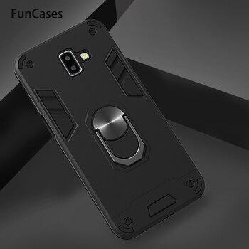 Fundas de teléfono para Samsung J6 Plus, anillo magnético súper fuerte para coche, funda de silicona para Samsung Galaxy J6 Premium J6 + Prime