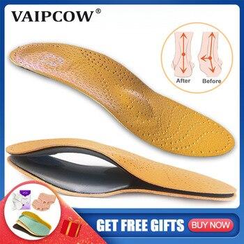 Semelle orthopédique en cuir pour pieds plats soutien de la voûte plantaire chaussures orthopédiques semelles intérieures pour pieds hommes femmes enfants O/X jambe corrigée 1