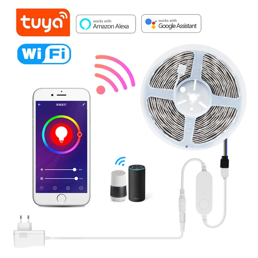 Tuya APP Control RGB LED Strip light Wireless Smart WIFI Voice Control Backlight lamp Tape Ribbon Compatible Alexa Google Home|LED Strips| - AliExpress