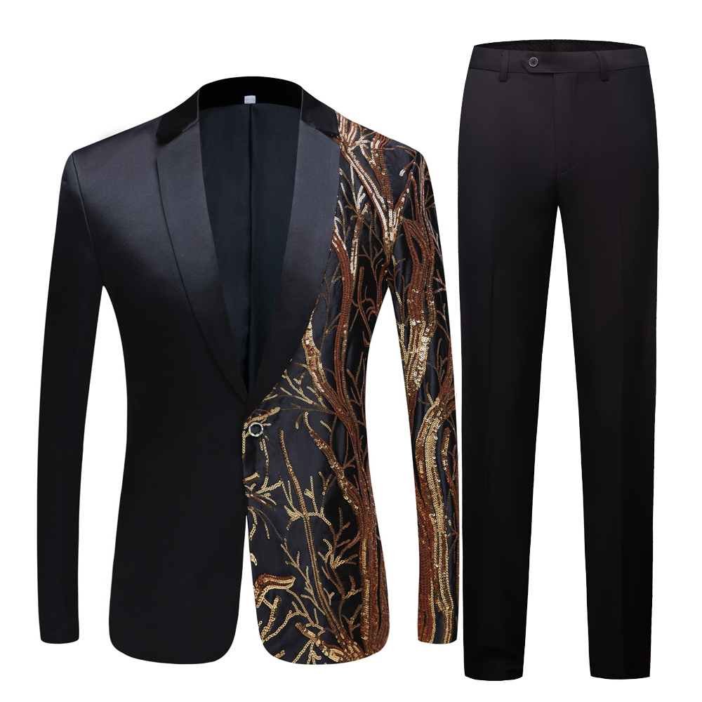 Men's black  Sequin Party Blazer Slim Fit Wedding Party Suit Jackets High Quality singer high density sequined Blazer suits