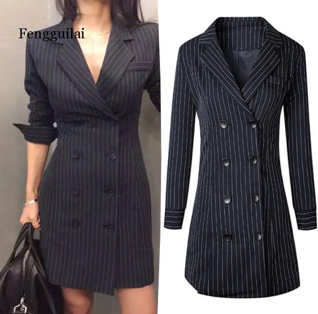 Autumn Women's Striped Double Breasted Blazer Office Lady Jackets Slim Work Blazers Dress Navy Blue