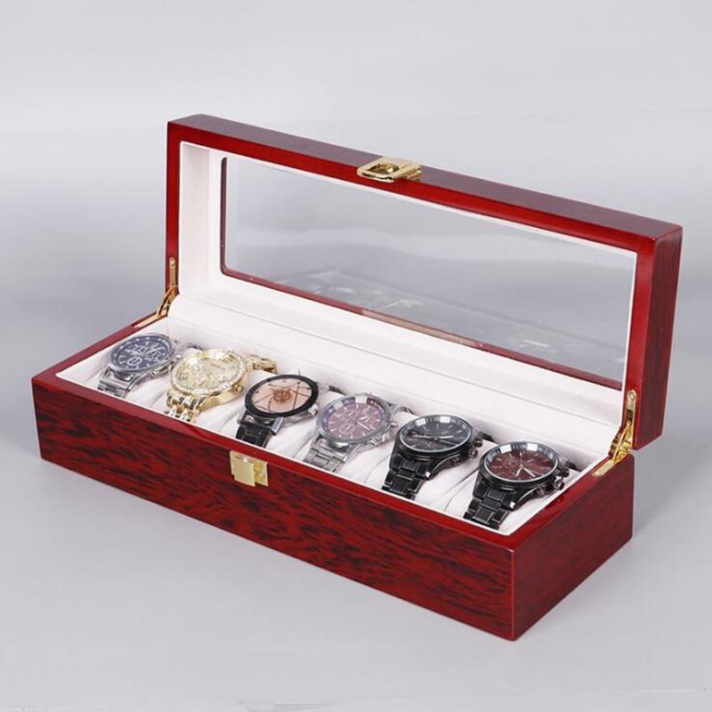 de madeira caixa de relógio vermelho caixa