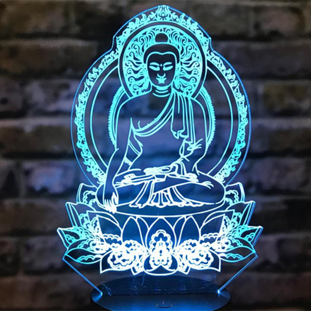 New Sakyamuni Buddha 3D Illusion Lamp Usb Touch Remote Bluetooth Speaker Led Night Light Colorful Table Lamp