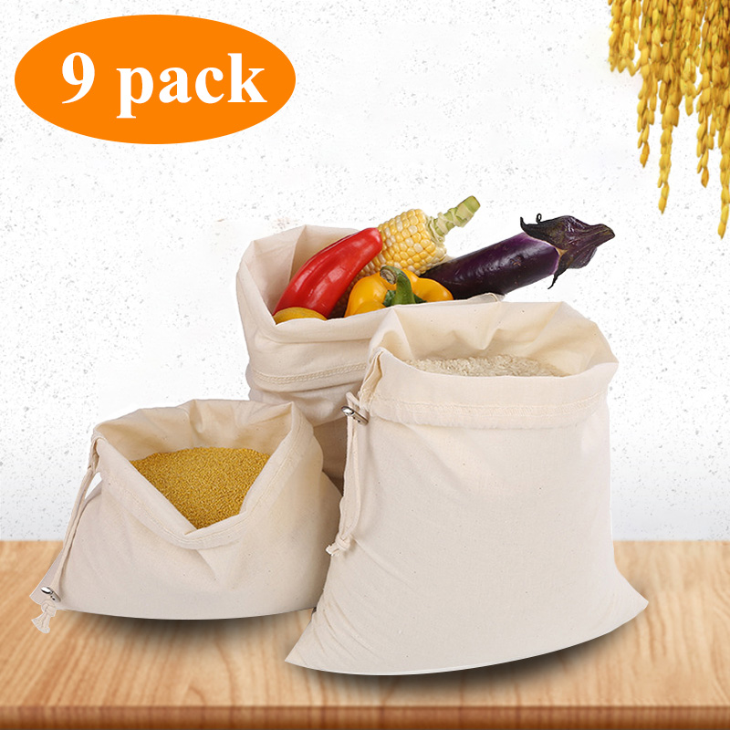 9 Pack Reusable Cotton Produce Bag Women Soft Cotton Shopping Bags For Vegetable Fruit Rice Bread Pre-Washed Tote Storage Bags