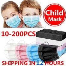 Mascarilla desechable de 3 capas para niños, máscara higiénica gruesa con filtro, para las orejas con elásticos, 10/50/100/200 Uds.