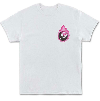 PINK DOLPHIN 8-BALL FLAME Tops Tee T Shirt WHITE MENS STREETWEAR WAVES brand fashion T-Shirt