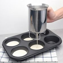 1x Cupcake Pancake Batter Dispenser Stainless Steel Muffin Baking DIY Cream Separator Cup Steel baking tool cake dough batter cream dispenser cupcake funnel batter separator valve measuring cup muffin cups optional cake mold