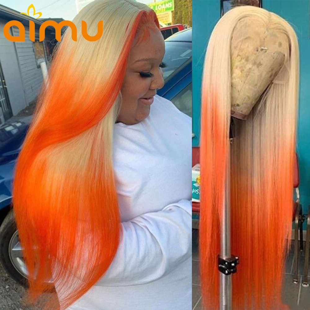 Straight HD Transparent 613 Ombre Blonde Orange Ginger Lace Front Human Hair Wig 13x6 Lace Frontal Wigs Glueless Remy Preplucked