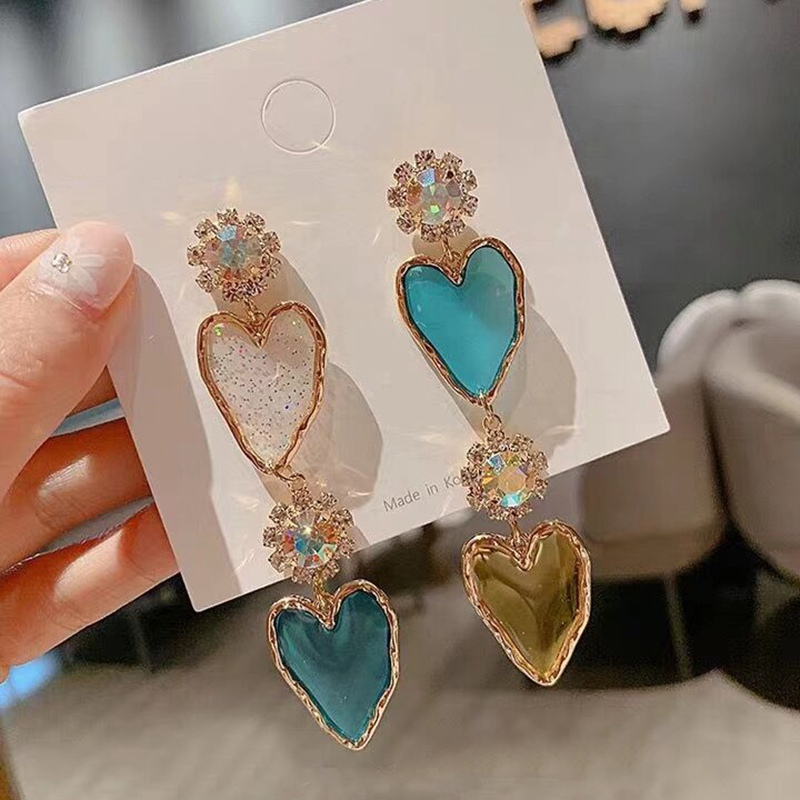 MENGJIQIAO New Korean Elegant Acrylic Heart Cherry Drop Earrings For Women Girls Shiny Crystal Holiday Pendientes Mujer Moda