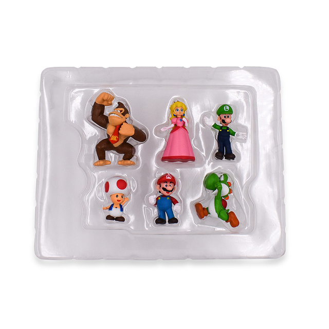 6Pcs/Set 3-7cm Super Mario Bros PVC Action Figure Toys Dolls Mario Luigi Yoshi Mushroom Donkey Kong In Gift Box Lovely Kids Gift 1