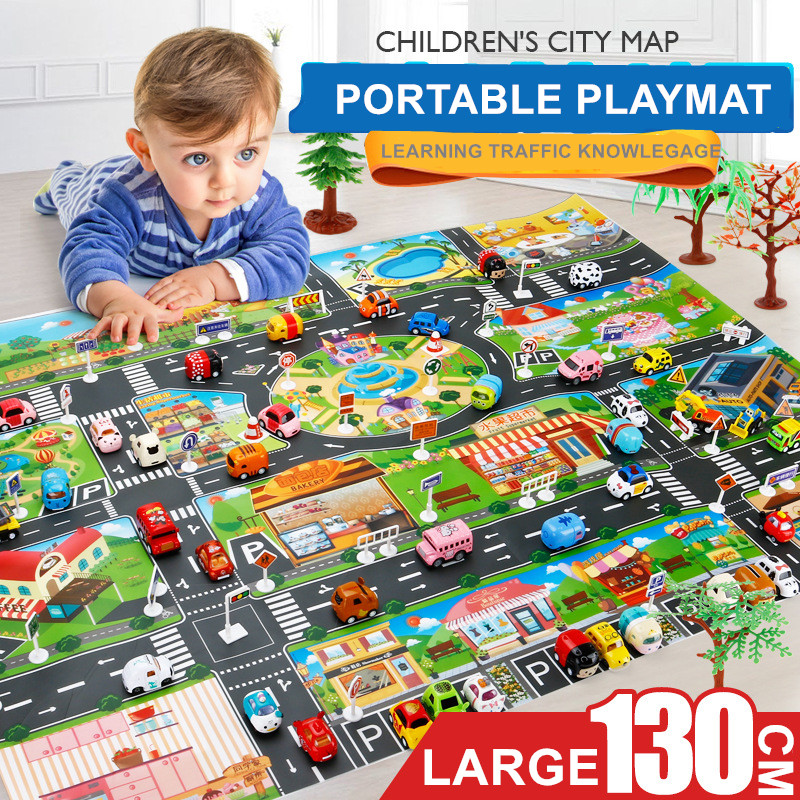 2019 Kids Gifts 130cm Baby Game Pad Play Mat Brinquedos Juguetes Carros Children Car Vehicles Toys Traffic Map Playmat For Boys