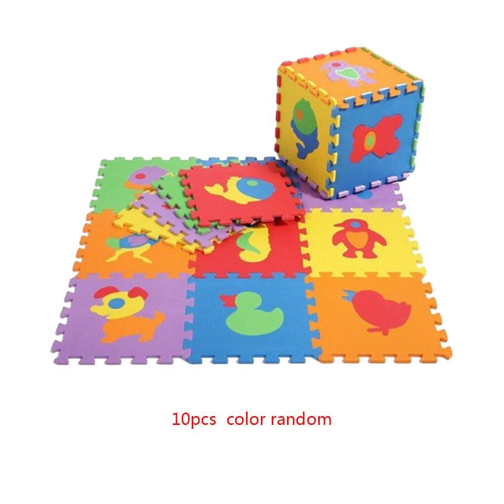 Cartoon Animals Numbers 10pcs/Set EVA Children Foam Pad Baby Crawling Mat Puzzle Floor Protector Random Color