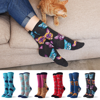 2020 Spring / Autumn Summer New Ladies Fashion Socks Butterfly Cute Dog Glasses Cat Cartoon Funny