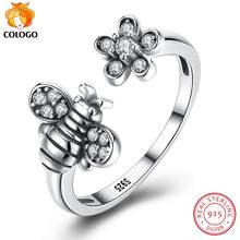 COLOGO 100% S925 Sterling Silver Ring Retro bee Open Ring Female Wedding Engagement High Wedding Original Jewelry Gift LKN0025(China)