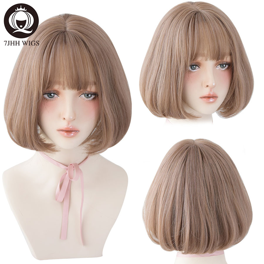 7jhh peruca pirita com franja, mulheres omber loiro castanho liso cabelo curto estrela penteado festa cosplay bob peruca com