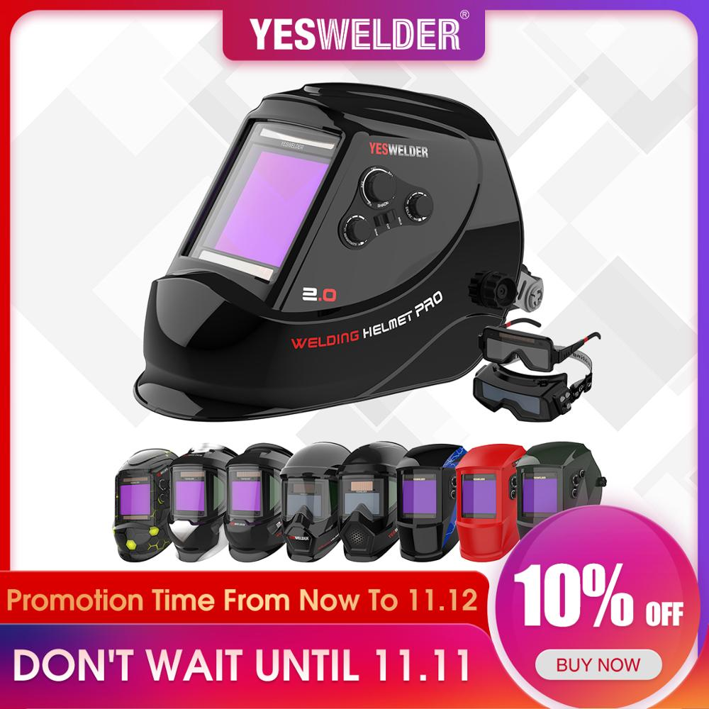 YESWELDER True Color Welding Mask Solar Auto Darkening Welding Helmet Large Screen Filter Without Battery For TIG MIG ARC CUT