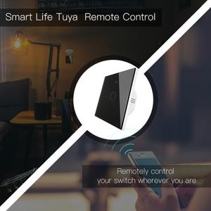 Image 3 - Wifi + rf433mhz vida inteligente interruptor de luz inteligente tuya trabalho controle remoto sem fio com alexa eco google casa preto 1/2/3 gang