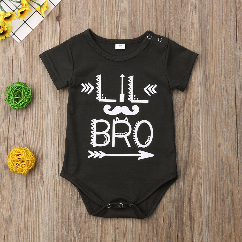 Lil Brother Mustache Romper Lil Bro Outfit Lil Brother Mustache Babies Bodysuits