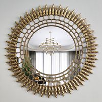 Metal Decorative Mirror Wall Decor Sun flower Lobby Wall Mirror
