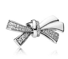 Authentic 925 Sterling Silver Bead Charm Sparkling Oversized Brilliant Bow With Crystal Beads Fit Women Pandora Bracelet & Necklace Diy Jewelry(China)