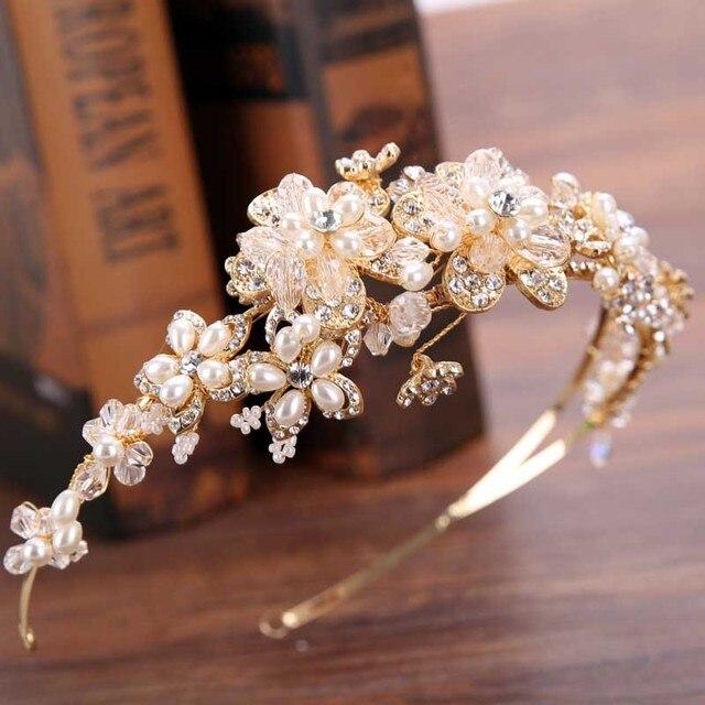 GETNOIVAS Vintage Ngọc Trai Vàng Kim Cương Giả Lá Tiaras Đầu Băng Đô Quấn Tóc Cô Dâu Tóc Trang Sức Đầu Đính Thái Phụ Kiện SL