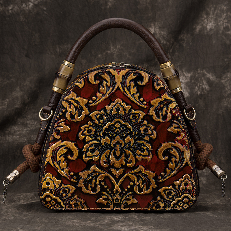 Johnature Retro Hand Painted Luxury Handbags 2020 New Genuine Leather Floral Large Capacity Cowhide Shoulder & Crossbody Bags