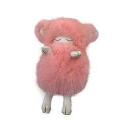 Colgante de piel de lana oveja de visón de Dinamarca, colgante de bolso de muñeca de oveja para dormir, llavero de coche bonito, decodificación de teléfono