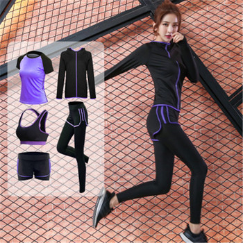 5 Piece Set Women's Yoga Suit Fitness Clothing Sportswear For Female Workout Sports Gym Clothing Athletic Running Yoga Suit Sets