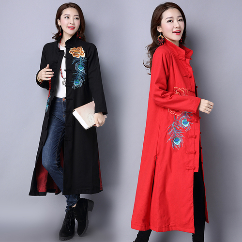 Trench-Coat Windbreaker Turtleneck Embroidery Cloak Vintage Chinese Long for Women