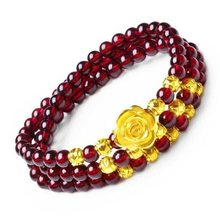 Three circles of Garnet Bracelet and 6 mm Rose ferret Bracelet apple beads. The best gift for mother, girlfriend and(China)