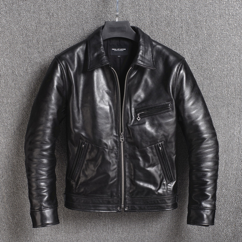 2020 New Genuine Leather Jacket Men 100% Horsehide Leather Coat Biker Motorcycle Jacket Vintage Men's Leather Jackets