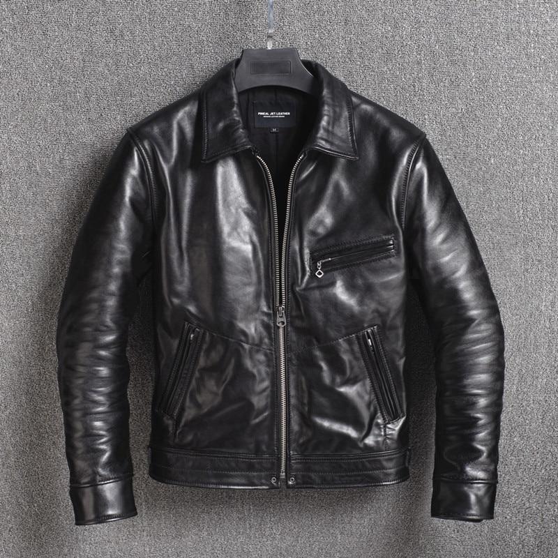 2020 New Genuine Leather Jacket Men 100% Horsehide Leather Coat Biker Motorcycle Jacket Vintage Men's Leather Jackets