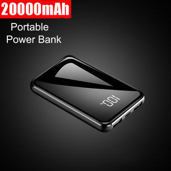 New 20000mah Mini Power Bank Ultra Thin Mirror Screen 2.1A Fast Charging Portable Charger Powerbank for xiaomi iphone 6 6s 7 8