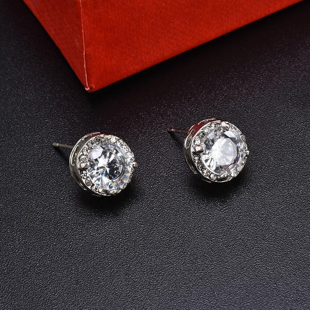 Fashion Women Girl White Rhinestone Crystal Round Metal Zircon Ear Stud Earrings Patry Earring Jewelry 5