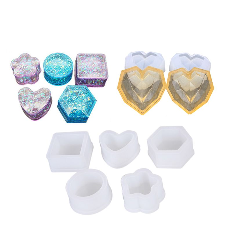 7Pcs/set Jewelry Box Silicone Molds - Sakura Hexagon Resin Casting Molds,Medium Size Trin