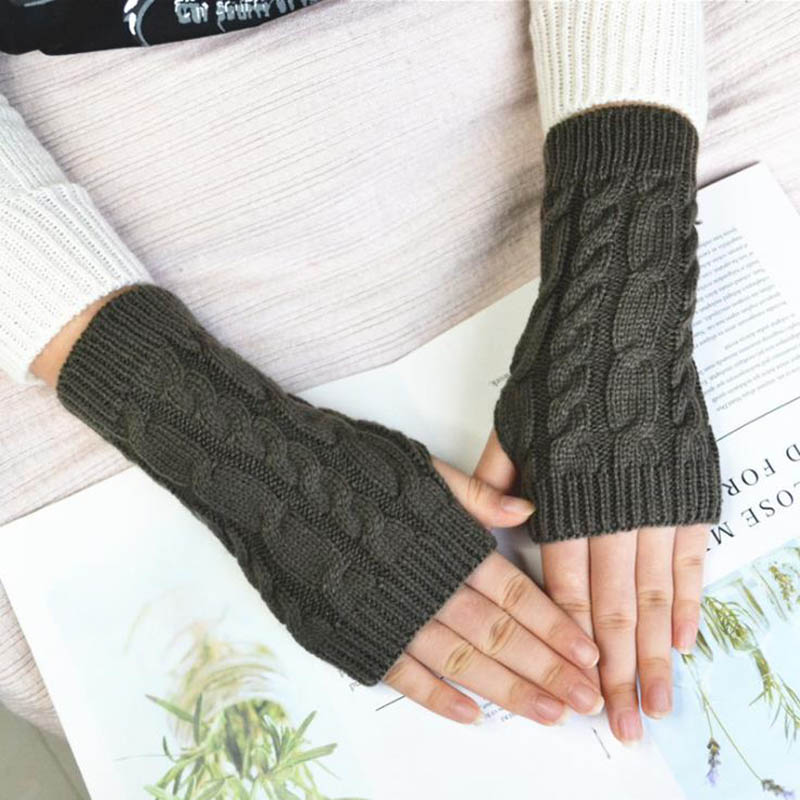 Calymel Autumn Winter Women Warmth Knitted Arm Fingerless Sleeves Gloves Long Stretchy Mittens Female Gloves